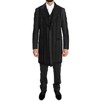 Dolce & Gabbana Black Wool Silk Torero Long 3 Piece Suit