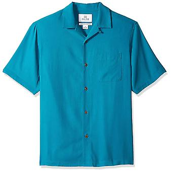 28 Palms Men's Relaxed-Fit 100% Silk Camp Shirt, Teal,, Teal, Size XX-Large