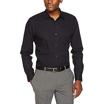 "Essentials Men's Slim-Fit Wrinkle-Resistant Long-Sleeve Dress Shirt, Black, 17"" Neck 36""-37"""
