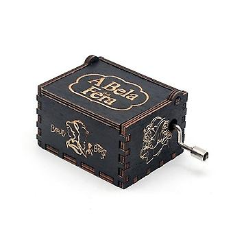 Beauty And The Beast Hand Crank Vintage Engraved Wooden Music Box - Wedding Valentine Christmas Birthday Musical Gift