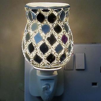 IEP Silver Morrocan Tulip Mosaic Wax Warmer