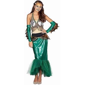 Nixe Damenkostüm Meerjungfrau Nixenkleid Karneval Wasserwelt 4-tlg. Nixenkostüm