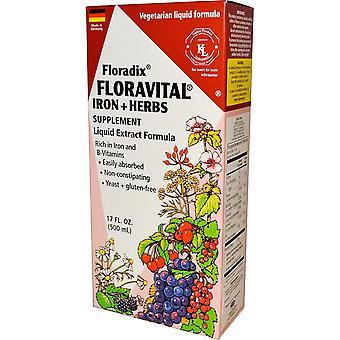 Flora, Floradix, Floravital, Supplément de fer + Herbes, Formule d'extrait liquide, 1