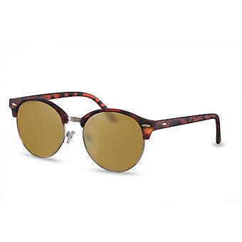 النظارات الشمسية السيدات نصف مؤطرة القط. 3 بني / ذهب