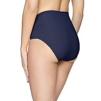 Anne Cole Women's High Waist to Fold Over Shirred Bikini, Blue, Size Large