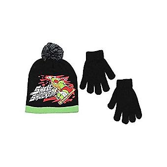 Beanie Cap-TMNT-Ralph piros fekete szett w/kesztyű