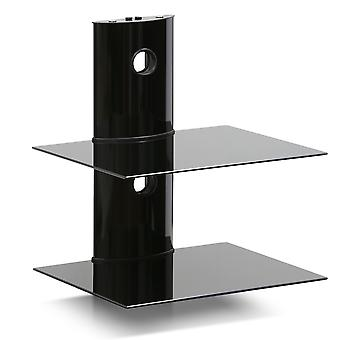 Modern 2-Tier Black Floating Wall Shelf for Media Accessories