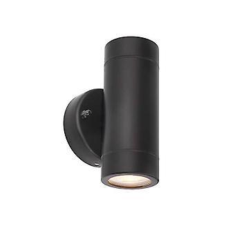 Saxby Palin - 2 Lumière extérieure Lumière de mur Matt Noir, Verre IP44, GU10