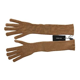 Dolce & Gabbana Brown Elbow Length Mittens 100% Cashmere Gloves