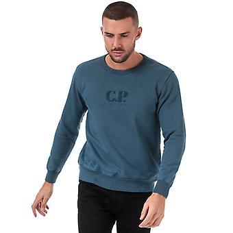 Men's C.P. Company Embroided Logo Crew Neck Moletom em Azul