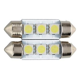 2x C5w 3-led Smd 5050 36mm Xenon White-bulb Plate Shuttle Festoons E Katto