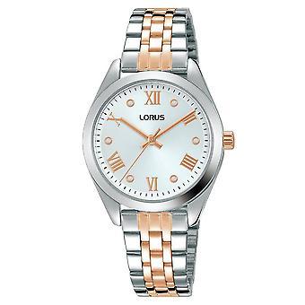 Lorus Damen poliert Silber Fall & Titan Armband Sunray white Dial Uhr