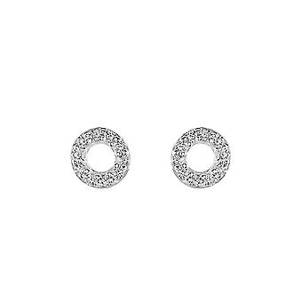 Dew Silver Open Cubic Zirconia Mini Open Circle Stud Earrings 3547CZ027