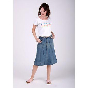 Kim stretch denim flared skirt - midwash