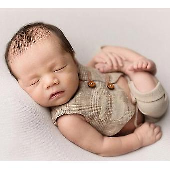 Newborn Baby Photography Clothing Props Little  Gentleman Vest + Shorts Suit