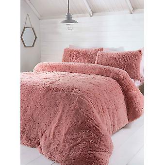 Luxury Faux Fur Bedding Capa Cover Set - Single, Blush