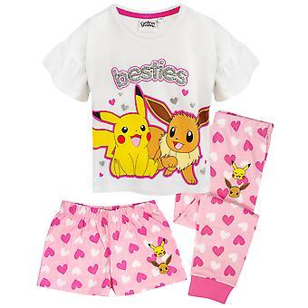 Pokemon Pyjamas Pikachu & Eevee Frill Manga Longa ou Perna Curta Meninas PJs