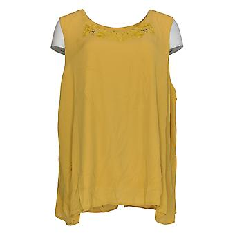 Antthony Women's Petite Top Embellished Round Neck Tank Yellow 690-740
