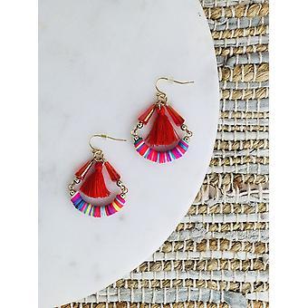 Rainbow Beads With Cotton Yarn Tassel Hoop Earrings