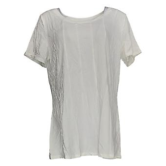 Anybody Women's Top Cozy Knit Seamed Tee White A367645