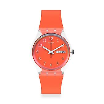Swatch Ge722 Red Away Silicone Watch