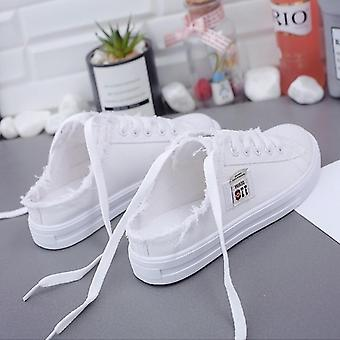 Spring & Summer Women Canvas Shoes, Lace Up Flat Sneakers