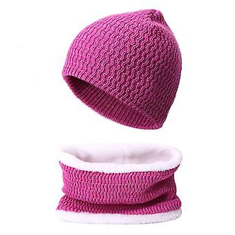Women Winter Thick Beanies Hat Scarf Set, With Lining Warm Female Soft Bonnet