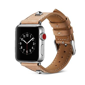 Genuine Leather Rivet Watch Strap for Apple Watch Series 4 & 3 & 2 & 1 38mm & 40mm (Grey)