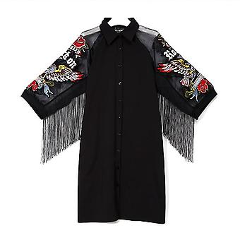 Unique Style Woman Black Casual Shirt Dress Mesh Sleeves Eagle Embroidery