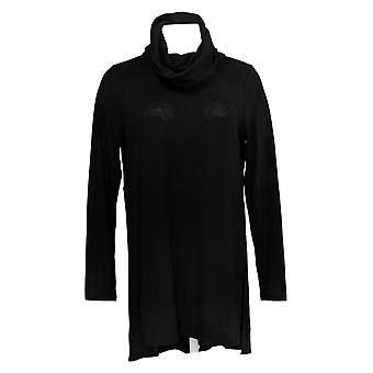 Lisa Rinna Collection Women's Top Cowl Neck Tunic Seam Detail Black A297909