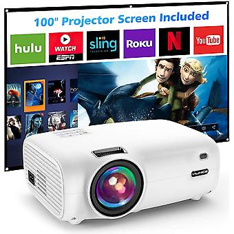 Mini Projector, Projector with 100 inch Screen 6500L Supports 1080P Full HD