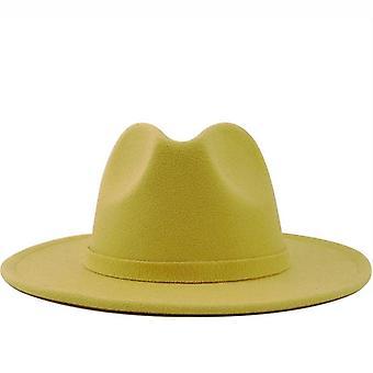 Men Women Wide Brim Wool Felt Jazz Fedora Hats, Cap