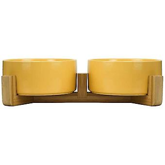 HCHLQLZ Yellow Ceramic Cat Bowl with Wood Stand No Spill Pet Food Water Feeder