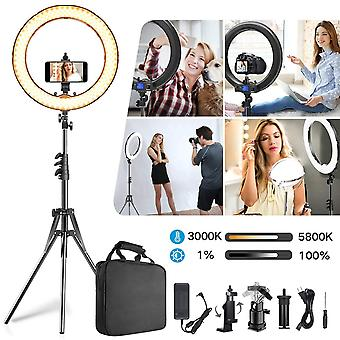 Ring light,upgraded version cri >97 55w 19inch with lcd display adjusted bi-color 3000k-5800k,dimmab