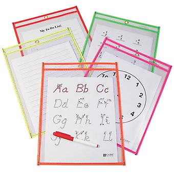 Reusable Dry Erase Pockets, Neon Colors, 9 X 12, Pack Of 10