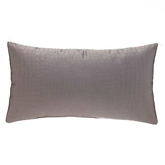 """Afterwhile Crocodile Embossed Decorative Lumbar Pillow 22"""" X 12"""", Grey"""
