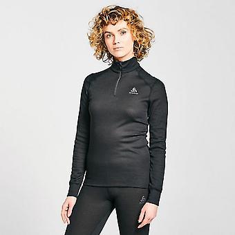 New Odlo Women's Eco Active Warm Long Sleeve Half Zip Baselayer Top Black