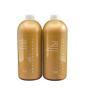 Liquid Keratin De Frizz Shampoo & De Frizz Conditioner Set 33 OZ Each