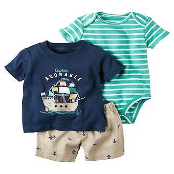夏の赤ちゃんTシャツ、ショートアンドロンパースセット、デザイン5