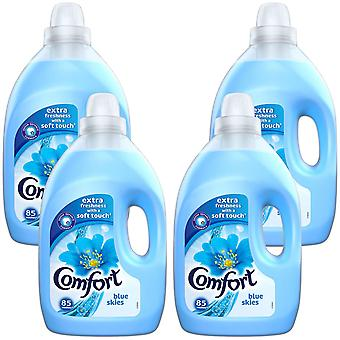 4x of 3L Comfort Blue Skies All Day Odour Defence Liquid Fabric Conditioner 85W