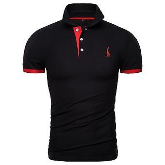 Cotton Polos Men Embroidery Polo Giraffe Shirt, Casual Patchwork, Tops Clothing
