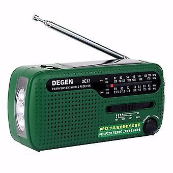 Degen DE13 Portable FM MW SW Manual Cranking Dynamo World Receiver Radio Recorder