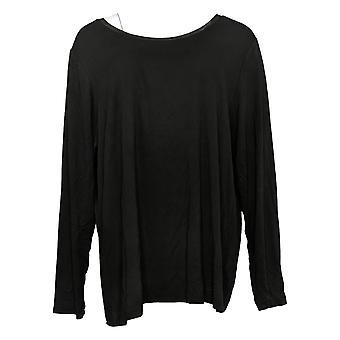 Laurie Felt Women's Plus Top Silky Long Slv W/ Ribete de gasa negro A38900