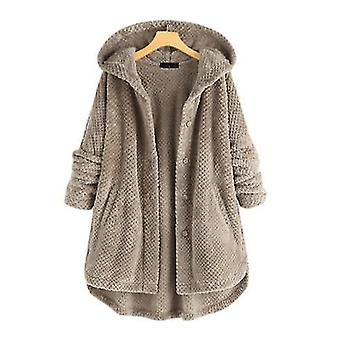 Original Design New Winter Hooded Sherpa Double-faced Fleece Sweater Mid-length Ladies Casual Jacket