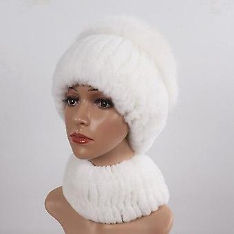 Winter Real Rex Rabbit Fur Hat Scarf