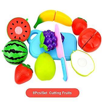 Teeskentele leikki asettaa muovinen ruoka lelu, diy kakku, leikkaa hedelmät, vihannes,