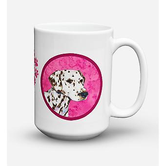 Caroline's Treasures SS4745-PK-CM15 Dalmatian Microwavable Ceramic Coffee Mug, 15 oz, Multicolor