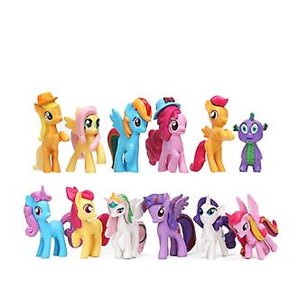 12 pezzi Cute Hat Mini Pegasus Unicorn Cavallo Pvc Action Figure