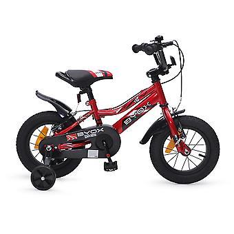 Byox barn cykel 12 tums Prince Red, stödhjul, kedjeskydd, sportig