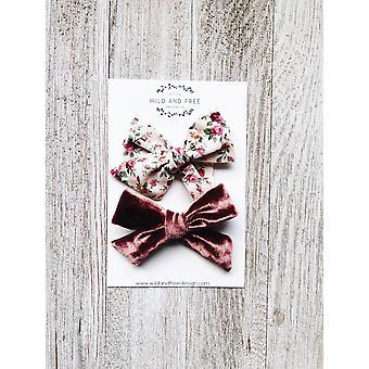 Floral și catifea Baby Bow Set